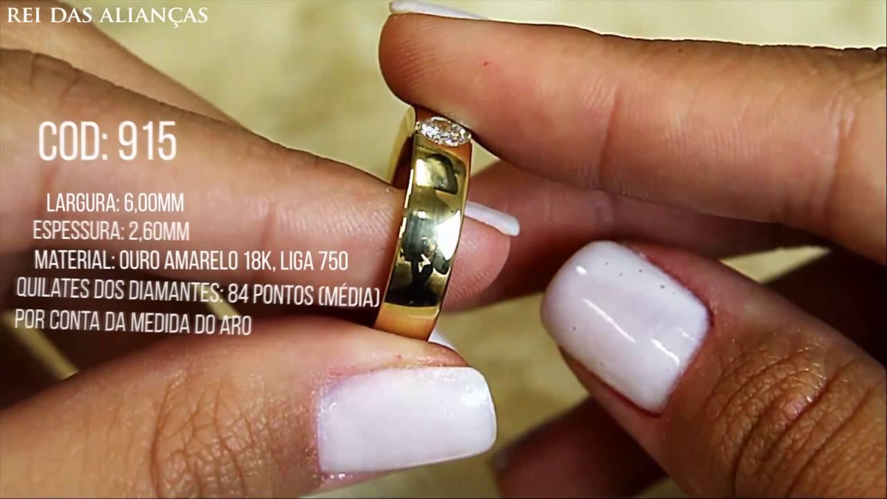 Alianças TOP LUXO Com Diamante Na Feminina - Cód. 915 Rei das Alianças 738be1a9f0