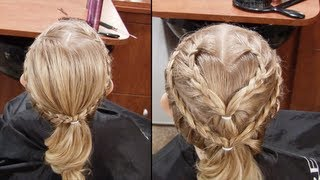 Super cute and fun french braid for valentines.  With The single and double heart option.  This is a great Youtube Hair Tutorial to make an amazing heart frenchbraid.  This Hairstyle will make all the other moms jealous.  Ha ha.  Nobody would want to do that.  But seriously.  give this a try.  you will love it. Very fun an cute hairstyle for girls. Thanks for watching.  Be sure to Subscribe here on youtube.   ** you can also like us on facebook at https://www.facebook.com/hair101withApril or visit our website at  http://www.hair101withapril.com/ or follow on twitter at ** https://twitter.com/CuteHair101 or on instagram at  http://instagram.com/hair101withapril also feel free to message me if you have any requests for any future hair tutorials