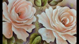 Como pintar rosas champagne – Pintura em tecido Cristina Ribeiro – Loucos por Pintura