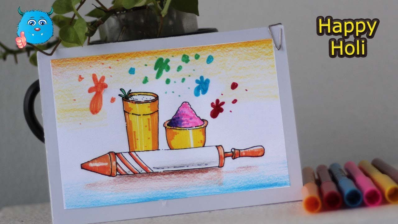 How To Draw Holi Festival Easy Drawing For Kids Youtube