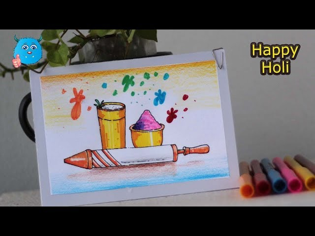 How to Draw Holi Festival Easy Drawing for Kids