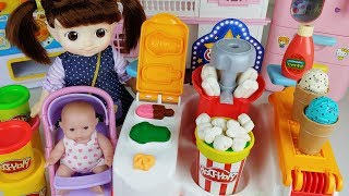 Baby doll popcorn Ice cream shop and Play Doh cooking machine toys play story - ToyMong TV 토이몽