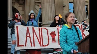 Greta Thunberg speaks at Edmonton climate action rally