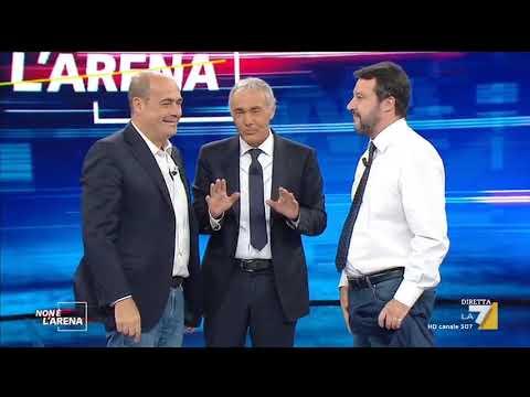 """Massimo Giletti fa stringere la mano a Nicola Zingaretti e Matteo Salvini e """"strappa"""" la ..."""