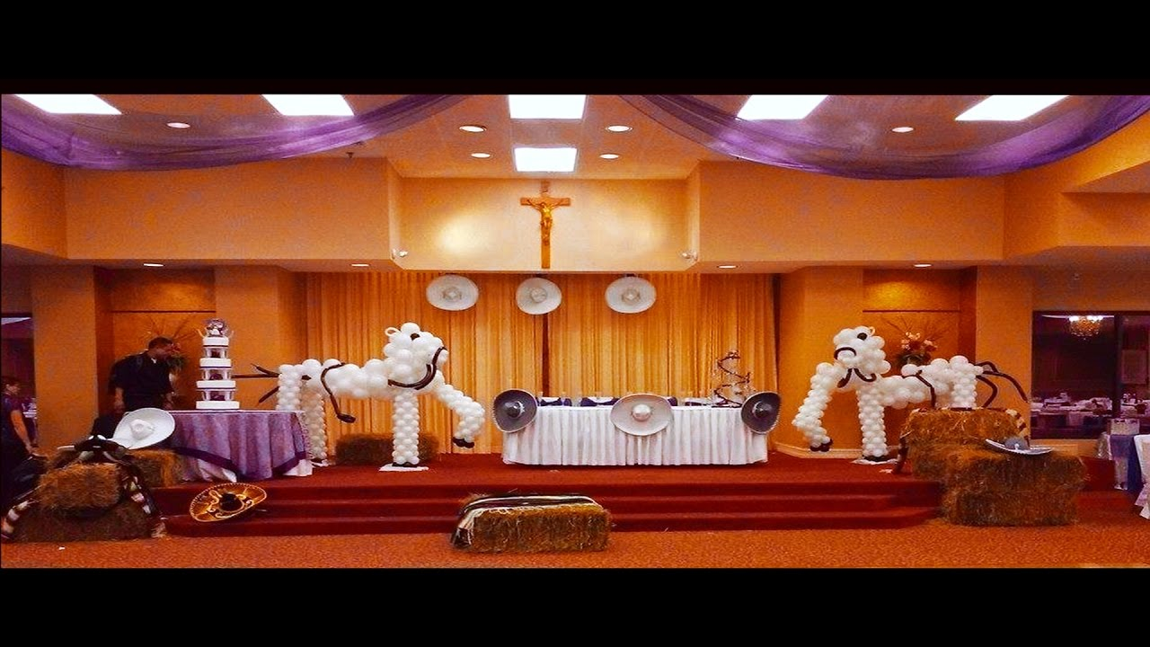 Decoracion de 15 a os con tema de charros youtube for Arreglos de salon para quince anos