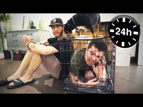 24 HOURS OVERNIGHT IN A DOG CAGE  *PAINFUL*