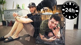 24 HOURS IN A DOG CAGE w/ FaZe Banks