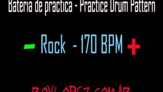 Bateria de practica / Practice Drum Pattern - Rock - 170 BPM