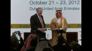 Prince Alwaleed Bin Talal Speaks at Forbes CEO Conference with Steve Forbes in Dubai P.3/3