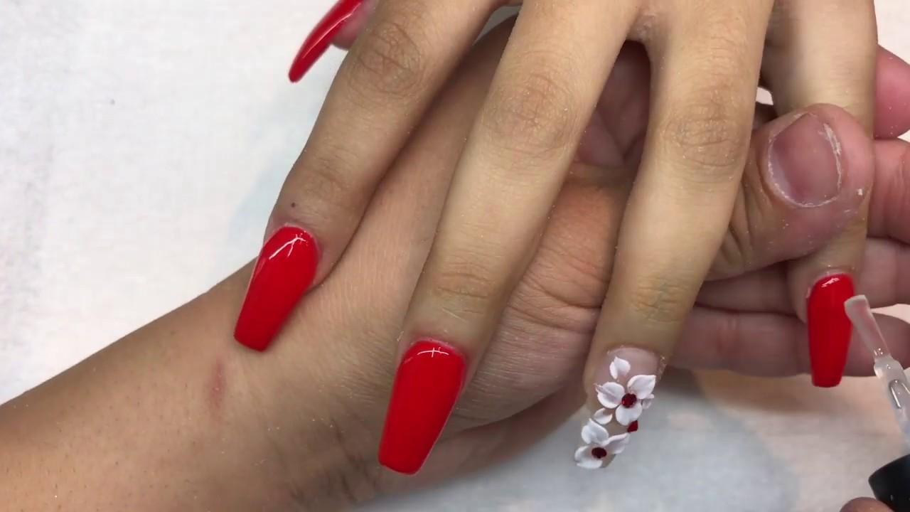 Uñas Rojas Elegantes Con Gel Y 3d Luliz Nails Coffin Nails