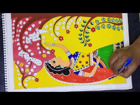 Easy madhubani painting for beginners/lady with bird /peacock/mithila drawing/folk art