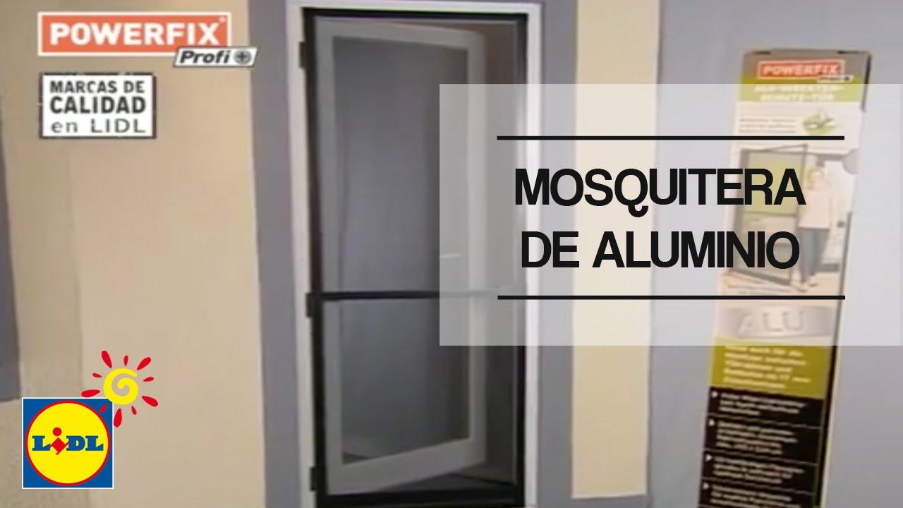 Mosquitera de aluminio para puerta lidl espa a youtube for Puertas de aluminio