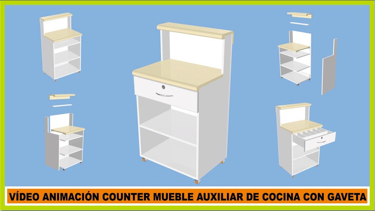 Muebles de cocina v deo animaci n counter mueble auxiliar for Mueble auxiliar cocina conforama