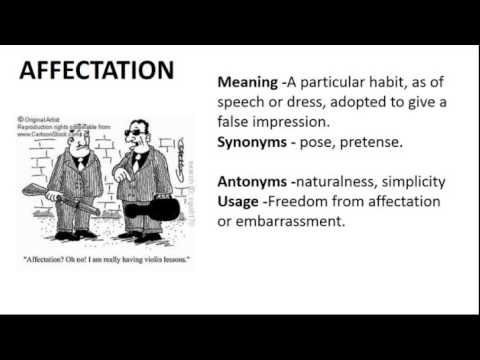 Vocabulary Made Easy Meaning of Affectation Synonyms Antonyms and its Usage  YouTube