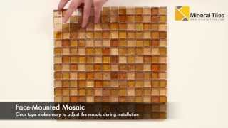 Iridescent Glass Mosaic Tile Amber2 Blend 1x1 - 120KELU11BL2