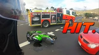 Hit by a car. (Motorcycle Rear End)