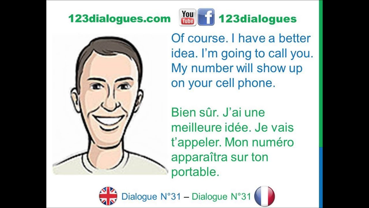 dialogue 31 - english french anglais fran u00e7ais - phone number - num u00e9ro de t u00e9l u00e9phone