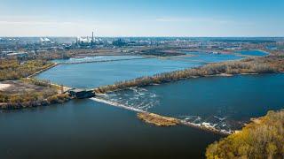 От плотины до Октябрьского моста - аэросъемка Липецк