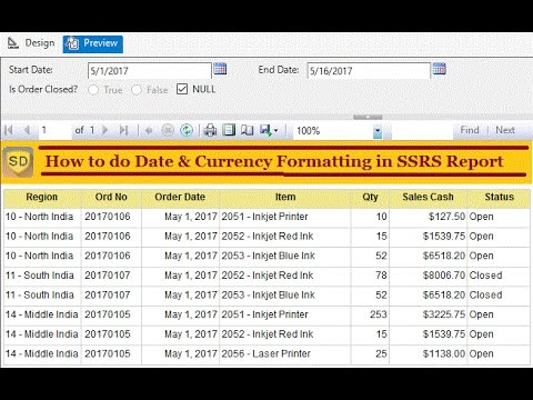 SSRS - How to do Date & Currency Formatting in SSRS Report