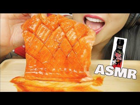 ASMR SALMON SASHIMI + FIRE SAUCE (SAVAGE EATING SOUNDS) NO TALKING | SAS-ASMR