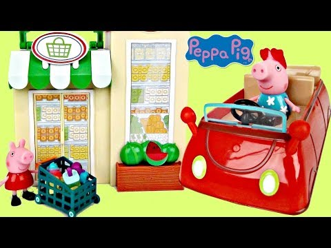 Nick Jr PEPPA PIG Little Red Car Grocery Shop, Friend Birthday Party, Toy Surprises Playset / TUYC