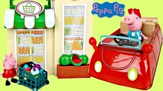 PEPPA PIG Little Red Car Grocery Shop Playset & Friend's Birthday Party