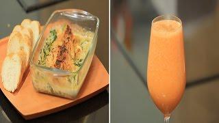 سندويتش دجاج بالسبانخ و الكريمة - عصير تفاح بالجزر   سندوتش وحاجة ساقعة حلقة كاملة