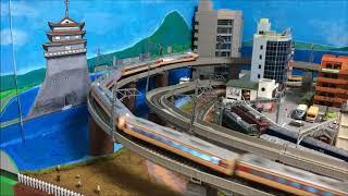 国鉄485系初期型特急雷鳥12両編成_Nゲージ_ジオラマ淡海線