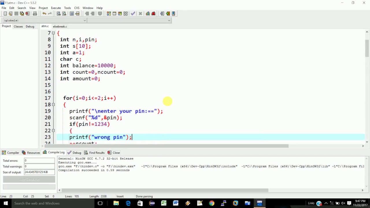 projects(atm machine) in c language
