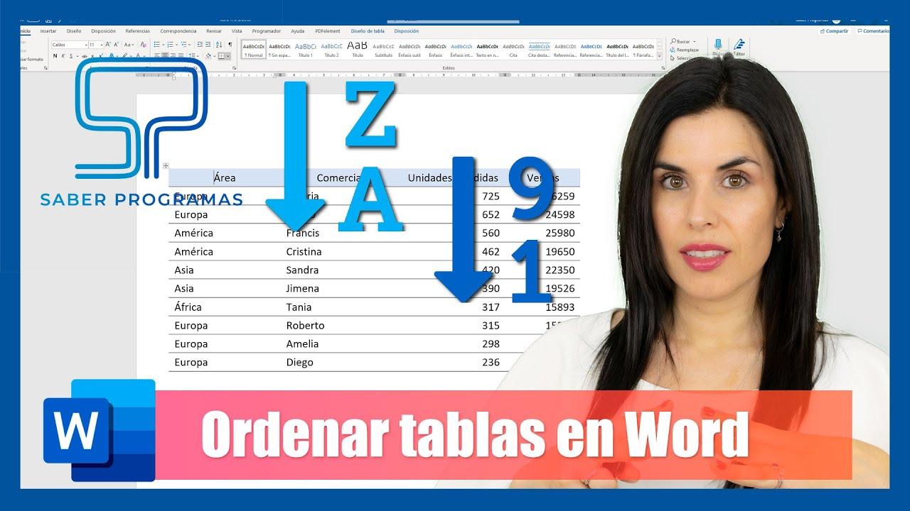 Word | Ordenar tablas en Word | ordenar alfabéticamente, de mayor a menor, varios niveles...