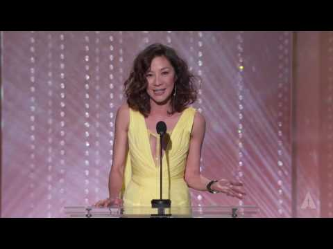 Michelle Yeoh honors Jackie Chan at the 2016 Governors Awards