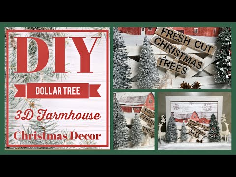 DIY Dollar Tree Farmhouse 3D Decor Sign With Wood Fence - Christmas Decor Ideas 2019 - Easy Craft