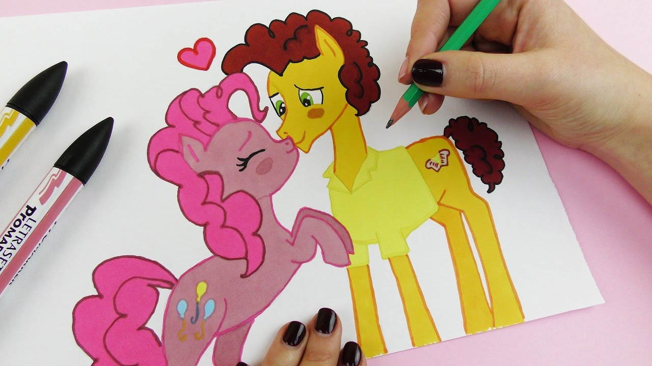 My Little Pony Drawing Pinkie Pie And Cheese Sandwich Kissing In Love
