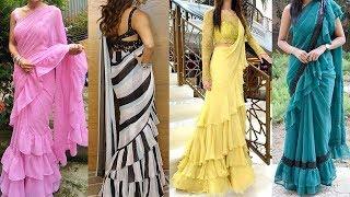 Frill/Ruffle Saree Design Collection | Latest Party Wear Ruffle Saree Design | New Fashion Dresses