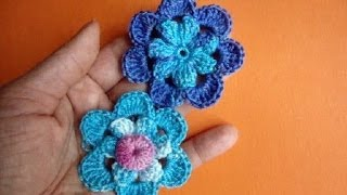 Вязаные цветы Урок 48 Crochet flower pattern Вязание крючком(Получи новые видео-уроки по емайл: http://feedburner.google.com/fb/a/mailverify?uri=knittingforbeginners/video Crochet flower pattern for free ..., 2013-10-21T07:47:58.000Z)