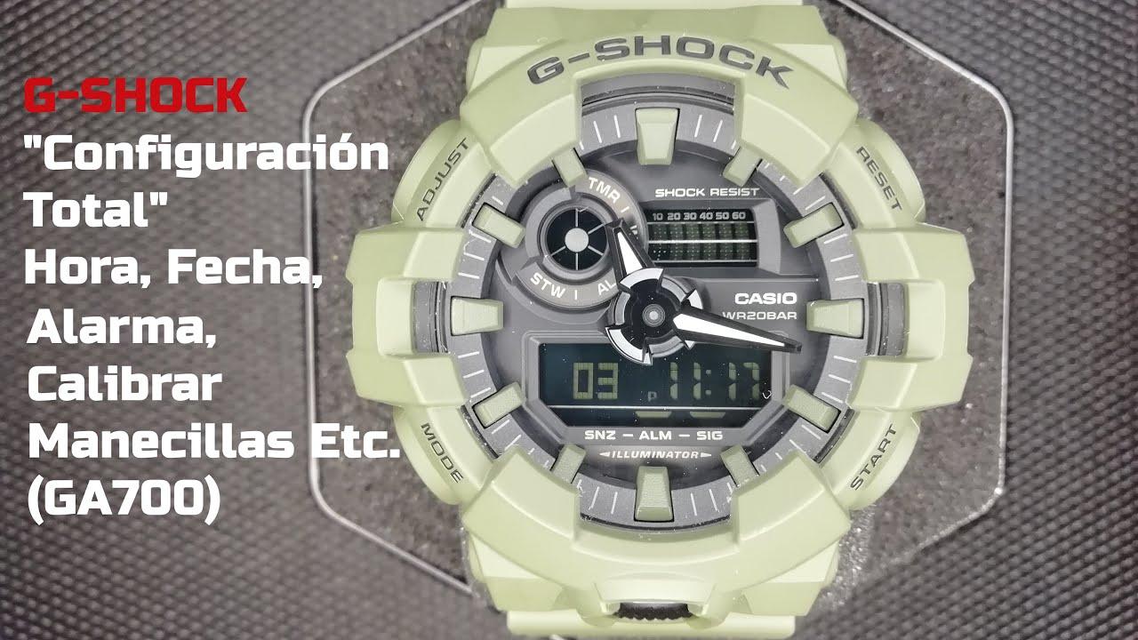 Cómo Ajustar Todas Las Funciones De Un Casio G Shock Ga700 Hora Fecha Alarma Etc Youtube