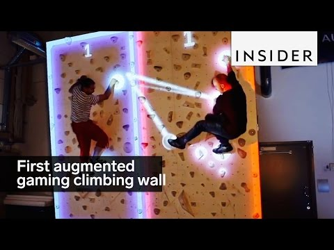 This is the first augmented gaming climbing wall