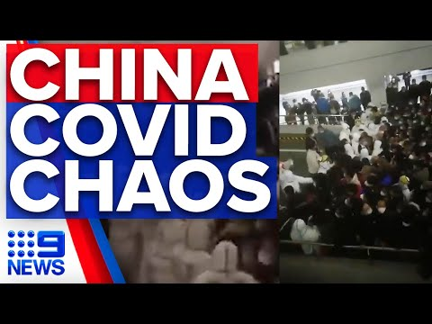 Chaos erupts at Shanghai Airport over COVID fears | 9 News Australia