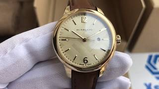 Xship.vn: Burberry BU10101 Champagne Check Stamped Dial Brown Leather Ladies Watch