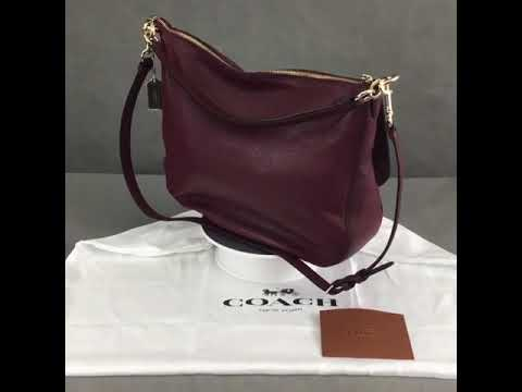 SOLD OUT COACH OxBlood Pebble Leather TURNLOCK HOBO HANDBAG - YouTube 5a25a142bdd6f