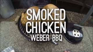 smoked roast chicken on a weber smokey joe bbq