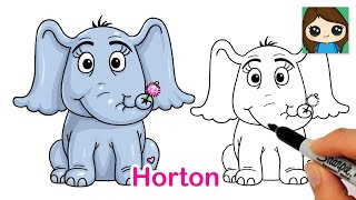 How to Draw Horton the Elephant Easy | Dr. Seuss