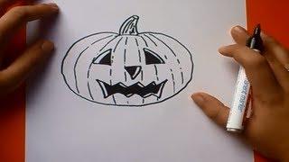 Como dibujar una calabaza paso a paso | How to draw a pumpkin