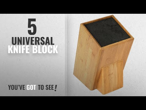Top 10 Universal Knife Block [2018]: Mantello XL Universal Bamboo Wood Knife Block Storage Holder
