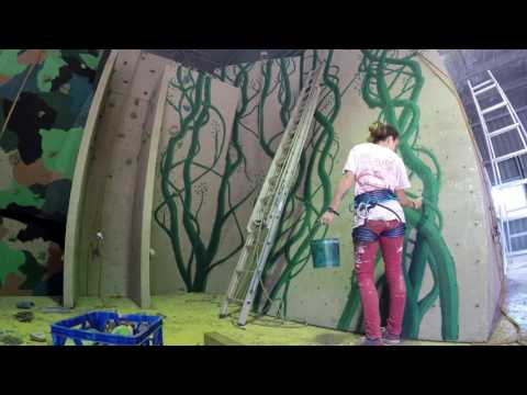 Time lapse Painting mural Jack and Beanstalk vine on a rock wall