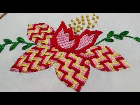 Hand Embroidery: Fantasy Flower/Checkered Stitch