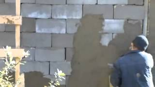 Строительство дома в Сочи  Кладка стены без связующего раствора