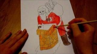 How to draw (Christmas theme): Santa Claus bringing presents..!