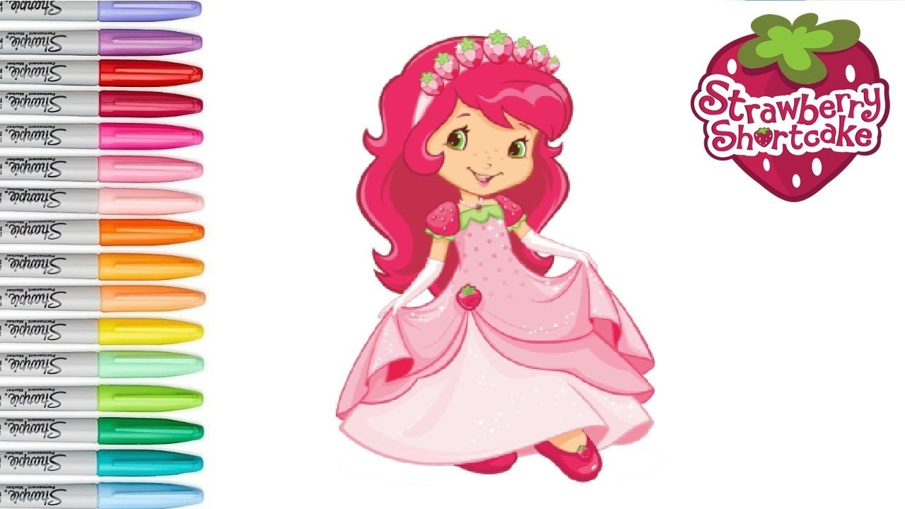 Strawberry Shortcake as a Princess Coloring Pages Drawing For Kids ...