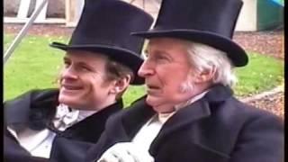 "Ian Richardson on the set of BBC drama ""Murder Rooms"" 2001"